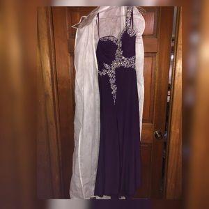 Beaded one shoulder prom dress